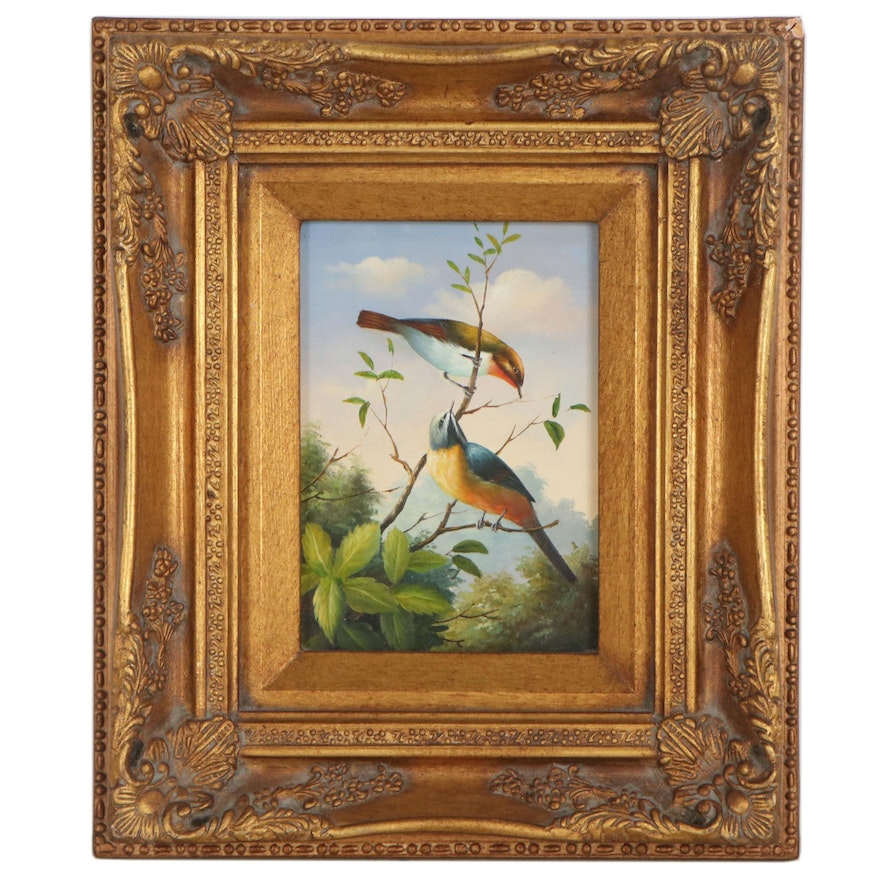 Wildlife Oil Painting of Two Birds