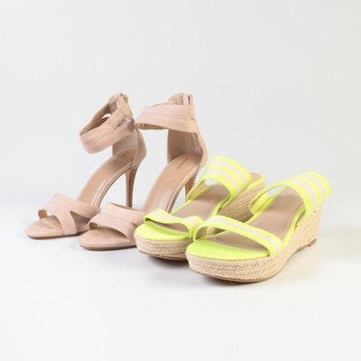 Lands' End Strappy Sandals in Tea Rose and Strada Slide Sandals in Bright Citrus