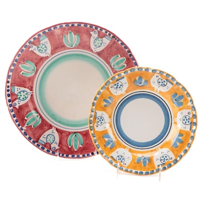"""Solimene """"Pulcino"""" Campagna Hand-Painted Plate and Serving Platter"""
