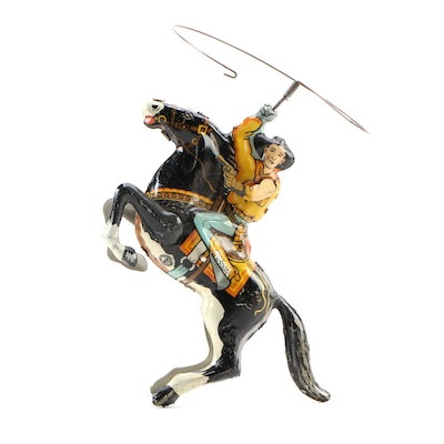 """Louis Marx & Co. """"Cowboy Rider"""" Tin Lithograph Wind-Up Toy in Packaging, 1930s"""