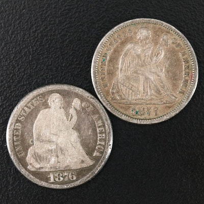 1876 and 1877 Carson City Liberty Seated Silver Dimes