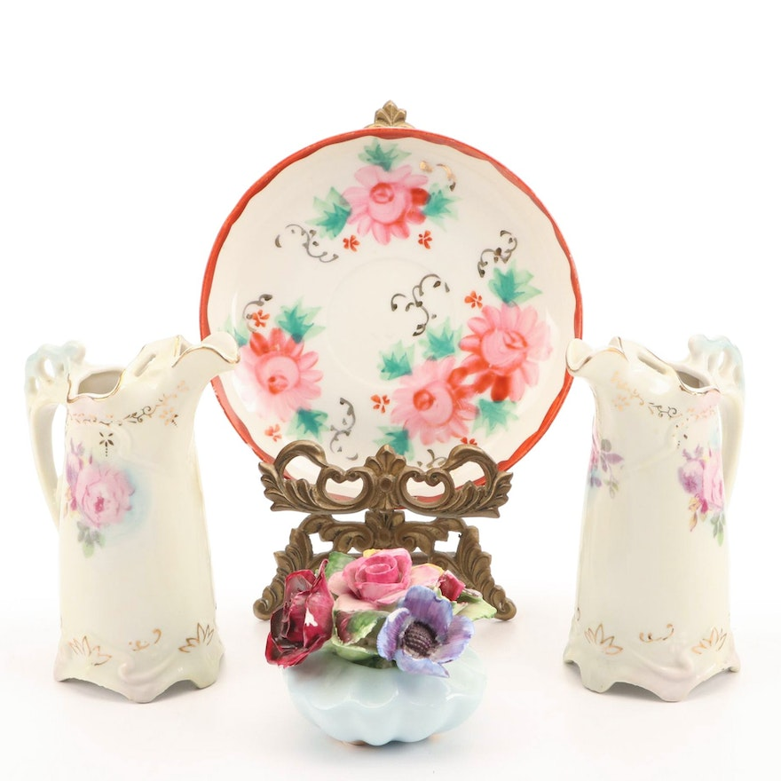 Adderley Porcelain Bouquet, Floral Plate with Stand, Hand-Painted Cruets