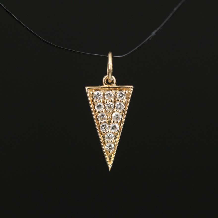 14K Diamond Triangular Pendant