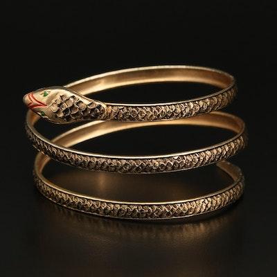 Spanish Snake Wrap Bracelet with Enameled Accents