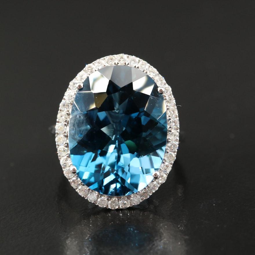 14K 21.40 CT London Blue Topaz and Diamond Halo Ring