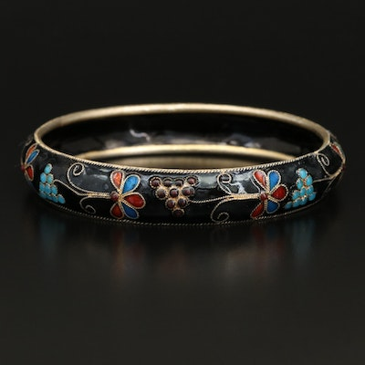 Cloisonné Bangle with Grape Cluster Pattern