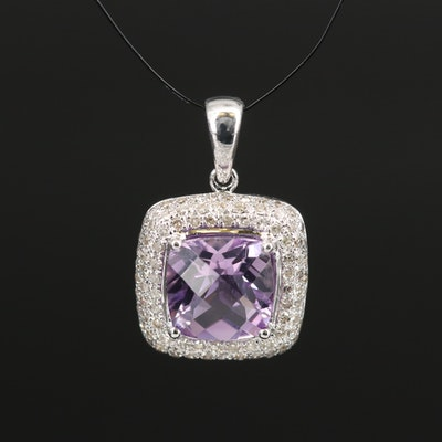 14K Diamond and Pink Amethyst Square Pendant