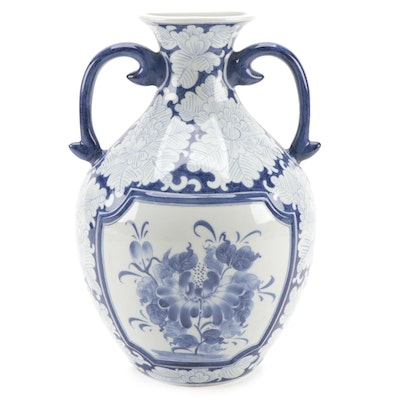 Maitland-Smith Blue and White Floral Motif Ceramic Wall Vase