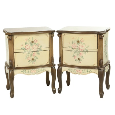 Pair of French Provincial Style Painted and Walnut-Finish Bedside Cabinets