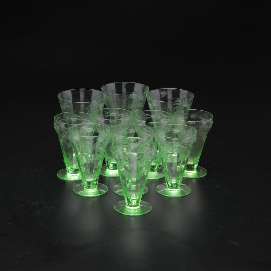 Green Depression Glass Floral Etched Glasses, Early to Mid 20th Century