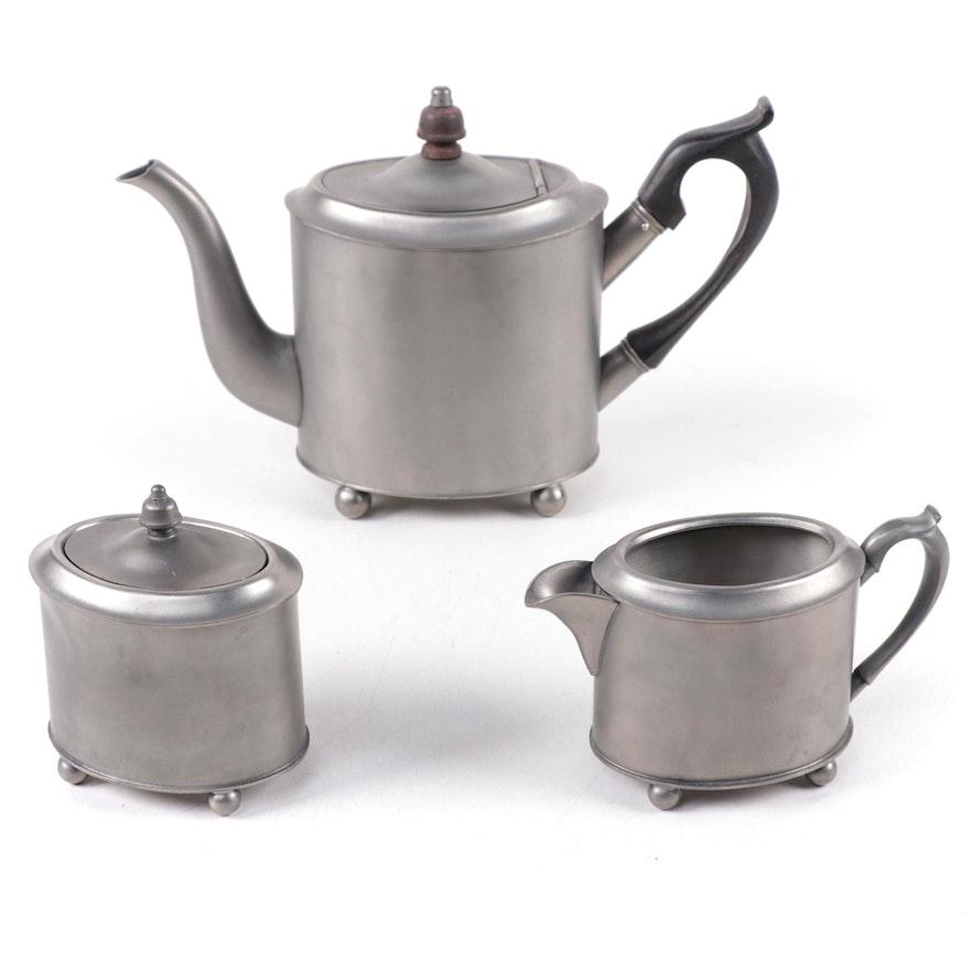 Stieff Historic Newport Reproduction Pewter Tea Set, 1960s