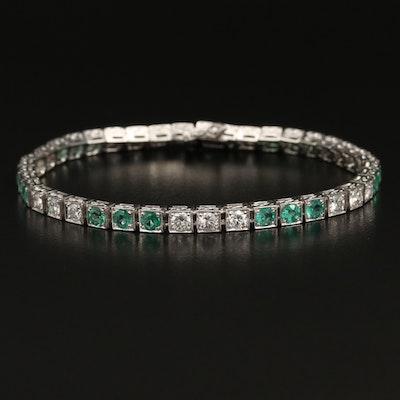 Platinum 2.86 CTW Diamond and Emerald Line Bracelet