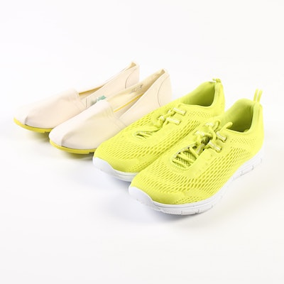 Lands' End Gatas Slip-Ons in Light Stone and Active Sneakers in Chartreuse