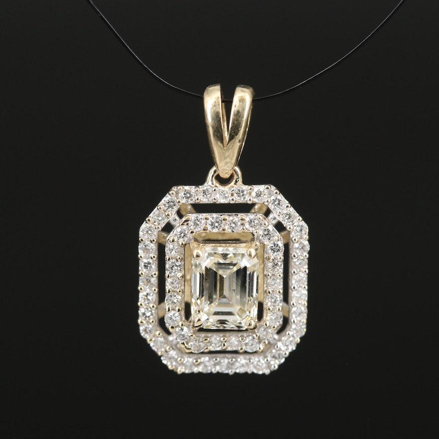 14K Diamond Double Halo Pendant