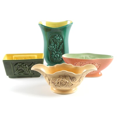 Red Wing and RumRill Stoneware Pottery Vases and Planters, Mid-20th Century