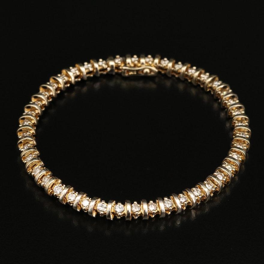 "14K 2.31 CTW Diamond ""S"" Link Bracelet"