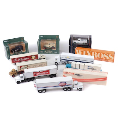 Ertl, Wincross, Elicor, and Other Diecast Toy Model Beer Trucks, Late 20th C.