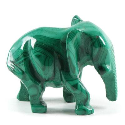 Carved Malachite Elephant Figurine