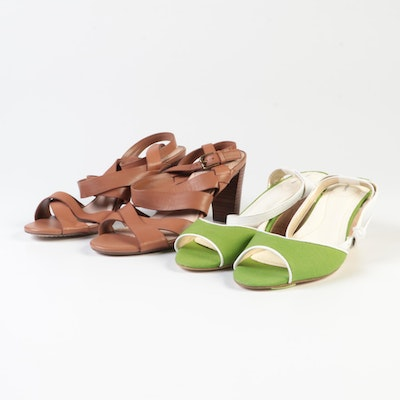 Lands' End Alicia Leather High-Heeled Sandals and Green Canvas Open Toe Wedges