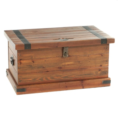 Victorian Style Metal Bound Pine Tool Chest