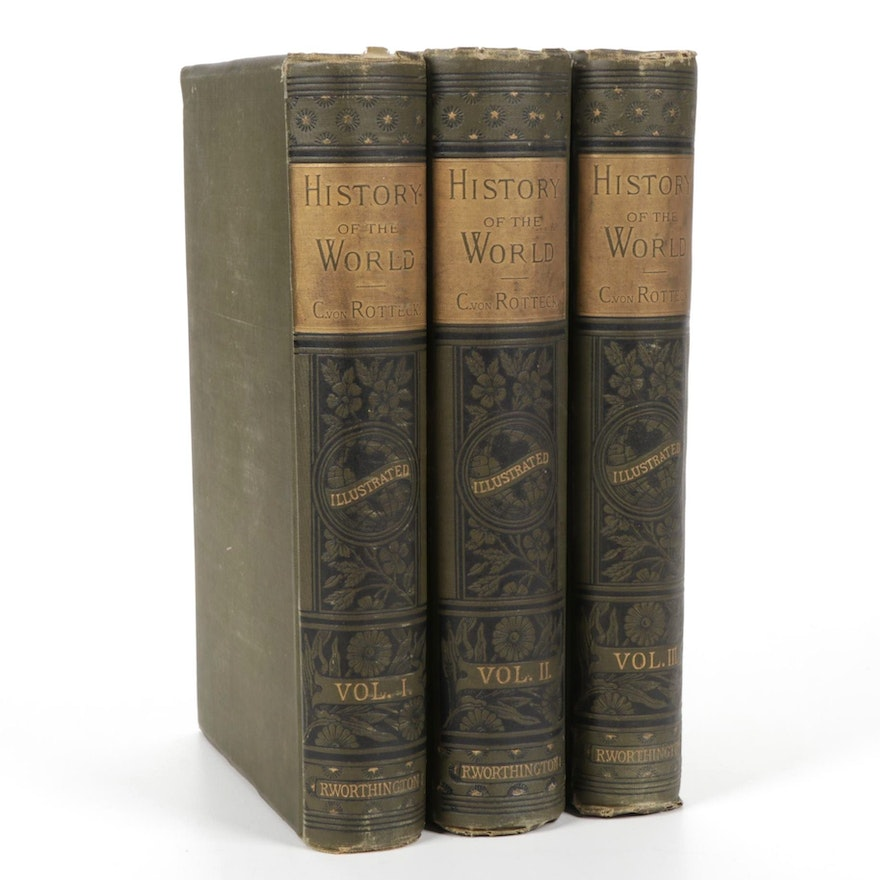 """Illustrated """"The History of the World"""" Vol. I–III by Charles von Rotteck"""