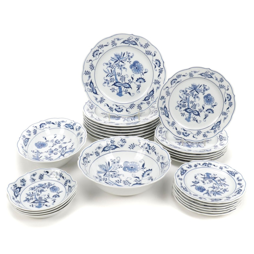 """Blue Danube of Japan """"Blue Onion"""" Ceramic Tableware, Mid to Late 20th Century"""