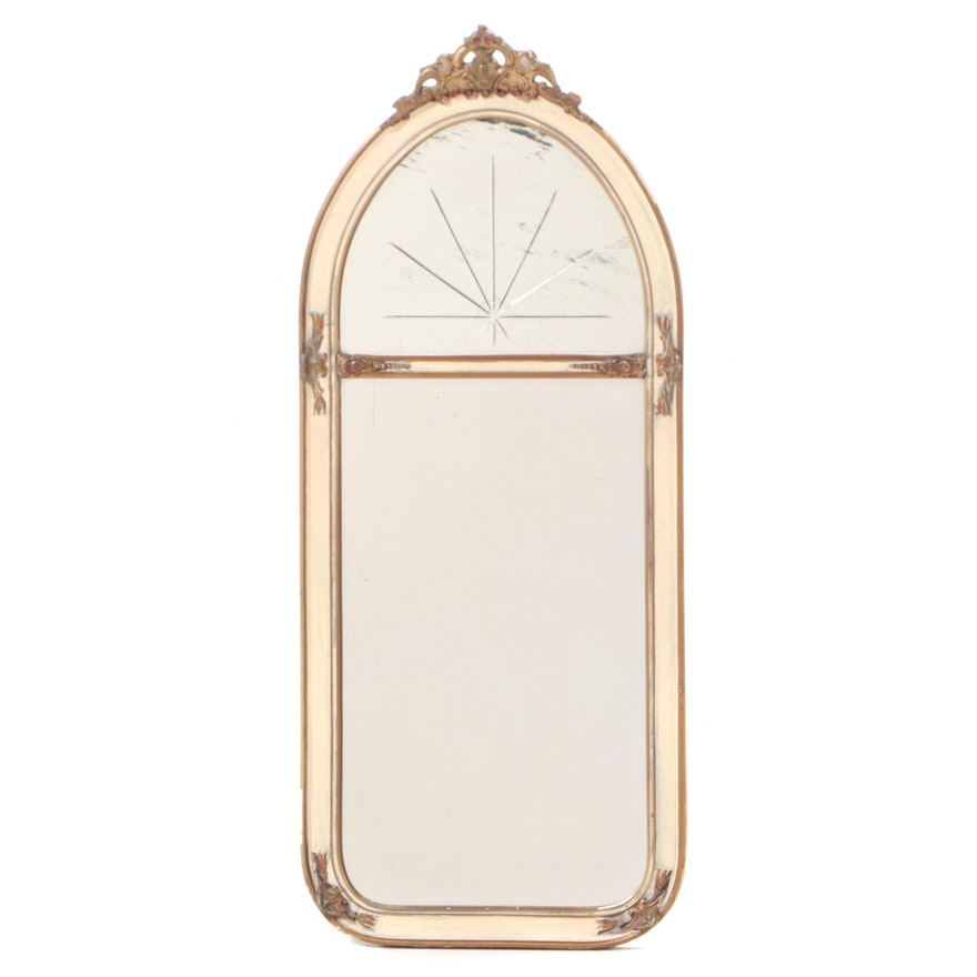 Painted, Parcel-Gilt, and Etched Glass Mirror, Early 20th Century
