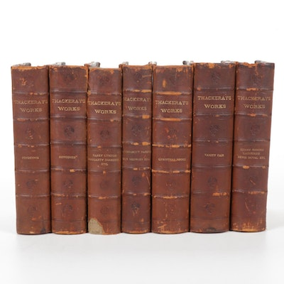 """Illustrated """"Thackeray's Works"""" Seven-Volume Set, Early 20th Century"""