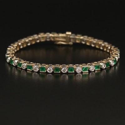 14K 1.82 CTW Diamond and Emerald Line Bracelet