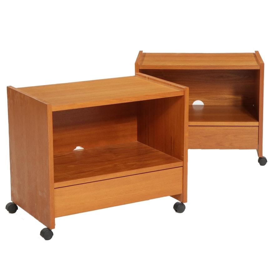 Pair of Danish Modern Teak Veneer Rolling Media Cabinets, Late 20th Century