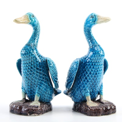 Chinese Export Blue Majolica Duck Figurines