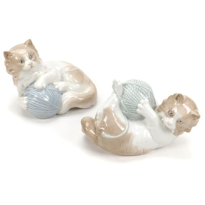 """Nao by Lladró """"Kitten with Yarn"""" and """"Playful Kitten with Yarn"""" Figurines"""