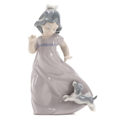 """Nao by Lladró """"Girl Running with Puppy"""" Porcelain Figurine"""