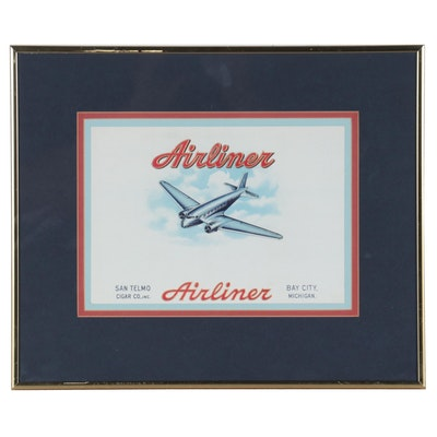 Chromolithograph Label for Airliner Cigars