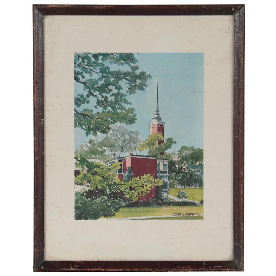 Offset Lithograph of Ohio Landmark After Bill Arter