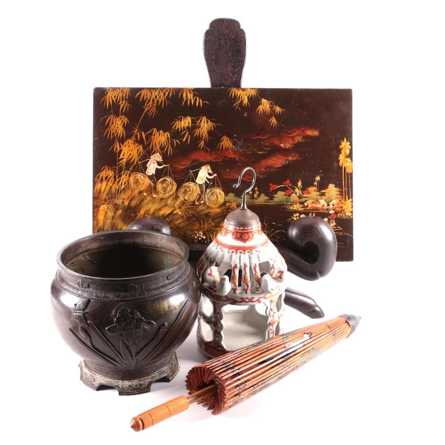 Japanese Bronze Planter with Paper Umbrella, Lacquerware Panel, and More