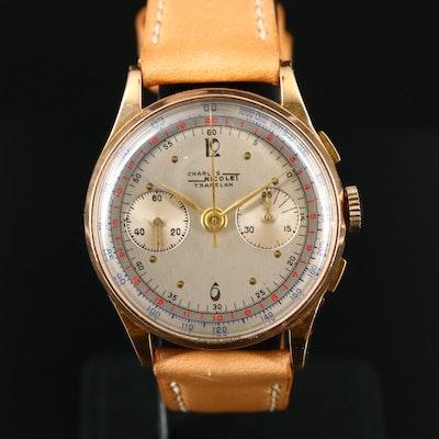 18K Charles Nicolet Tramelan Chronograph Wristwatch