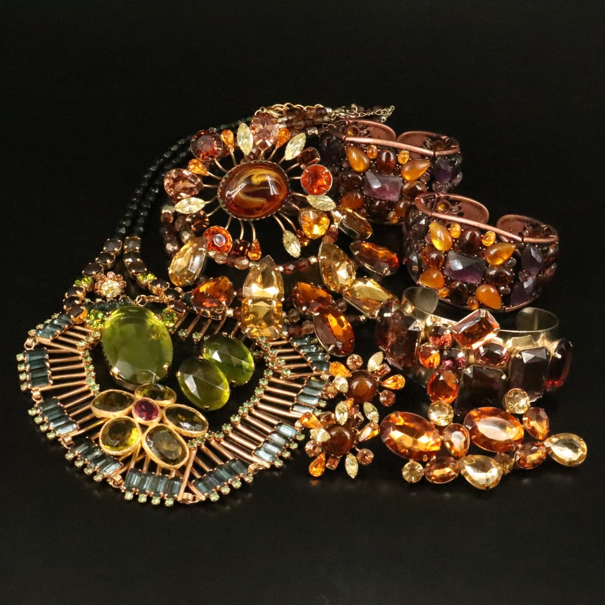 Vintage Rhinestone Jewelry with Vogue Earrings and Brooch