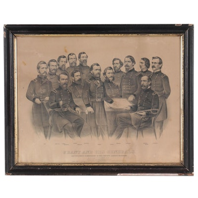 """Currier & Ives Lithograph """"Grant and His Generals,"""" 1866"""