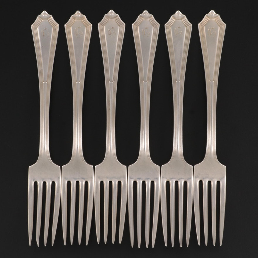 """Gorham """"Plymouth"""" Sterling Silver Dinner Forks, Early to Mid-20th Century"""