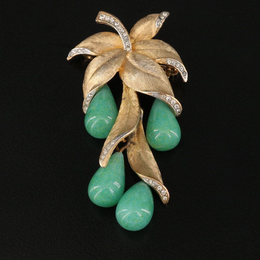 Glass Pear Brooch With Rhinestone Accents