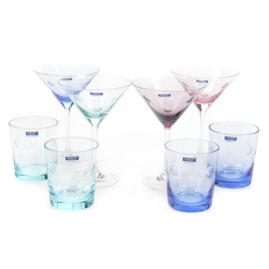 """Marquis by Waterford """"Polka Dot"""" Crystal Martini and Old Fashioned Glasses"""