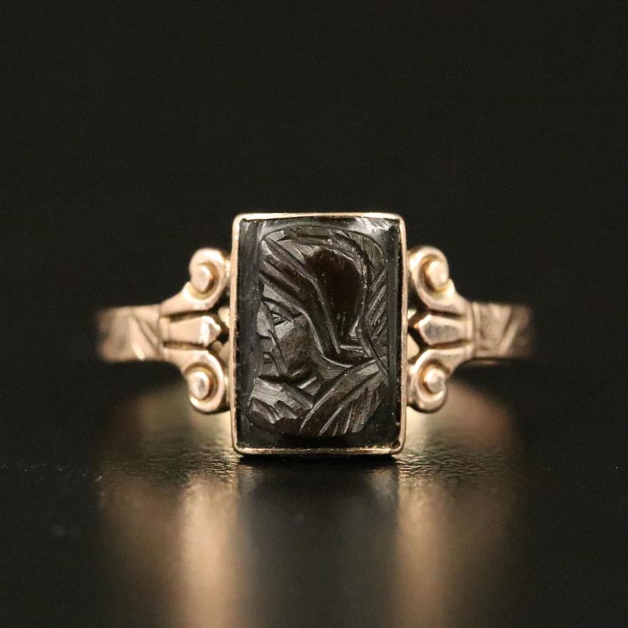 9K Carved Black Onyx Ring