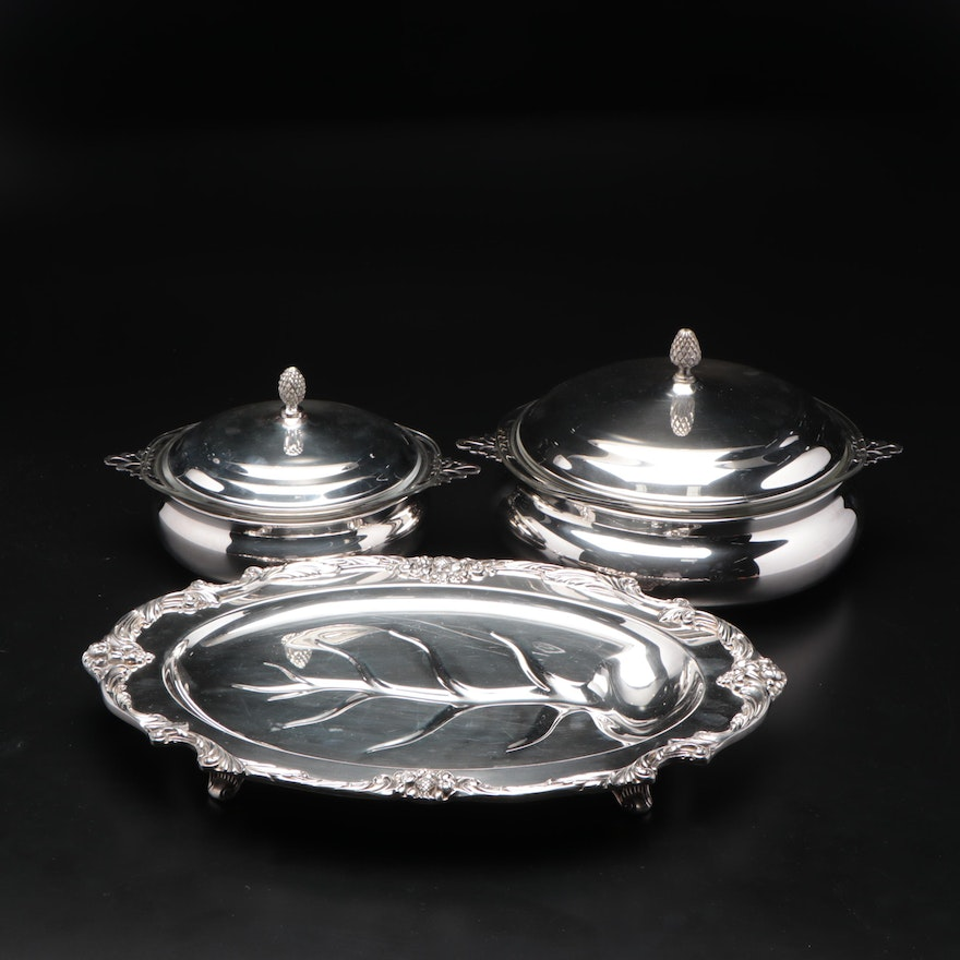 Silver Plated Meat Platter and Covered Serving Dishes, Mid to Late 20th Century