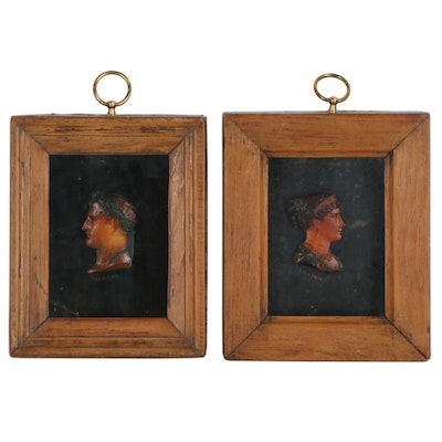 Napoleon and Josephine Wax Relief Portraits, Late 18th to Early 19th Century