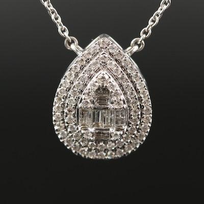 14K 1.13 CTW Diamond Teardrop Necklace