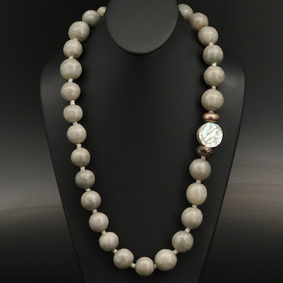 Mother of Pearl, Shell and Coral Beaded Necklace