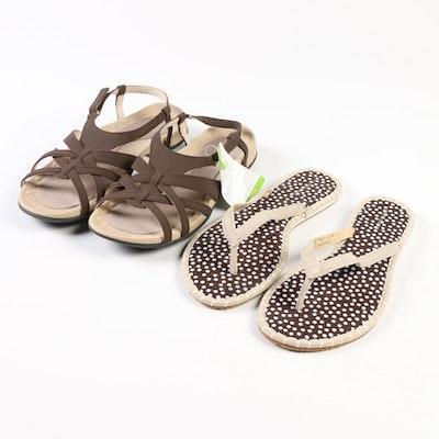 Lands' End Flip-Flops in Field Khaki Suede and Terrain Sandals in Dark Chocolate