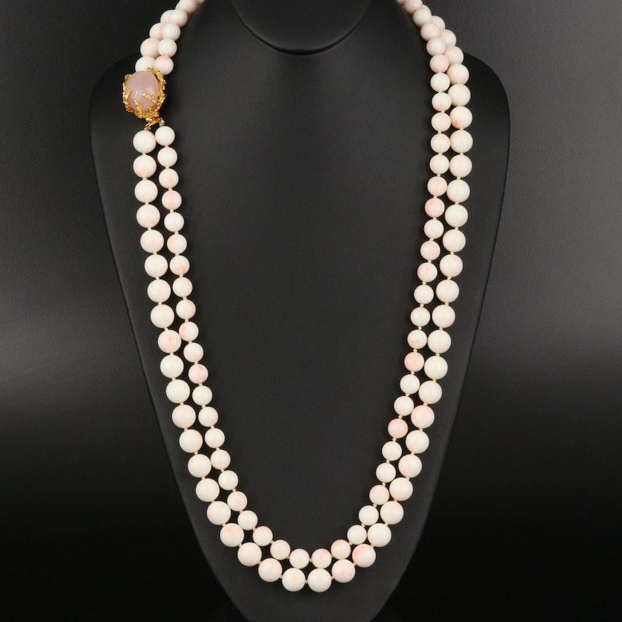 Coral Bead Double Strand Necklace with Rose Quartz Clasp