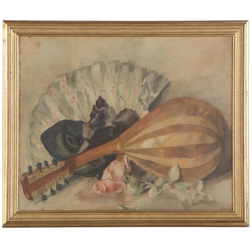 Still Life Watercolor Painting With Lute, Mid-20th Century